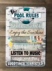 Pool Rules Metal Sign Swimming Pool Sign 18 x 12 Sign Teal Sign