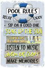 Pool Rules Metal Sign Swimming Pool Sign Blue 18 x 12 Pool Sign