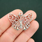 5 Butterfly Charms Antique Silver Tone SC5820