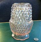 Vintage Variegated Pink Fairy Light Lamp In Diamond Point Pattern Mint Condition