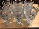 VTG Set Of 6 Clear Cut Diamond Glass Pedestal Gauntlet Juice Glasses 5-1/4