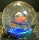 Vintage Controlled Bubble Orange  Blue Art Glass Jellyfish Paperweight Excellen