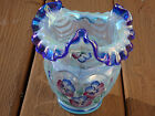 Fenton Iridized Blue Opal Open Heart Arches Drapery Optic Vase Signed Mint