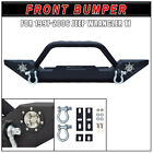 Front Bumper Winch Plate + 2 LED Fog Lights For 1997 2006 Jeep Wrangler TJ NEW