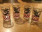 Vintage 40's-50's Set Of 4 Hazel Atlas Scottie Dog Juice Glasses