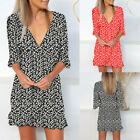 Women Floral Printed Middle Sleeve Deep V-Neck Casual Dress Beach Ruffled Dress