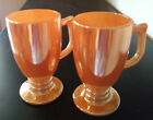 2 RARE VINTAGE PEACH LUSTRE PEDESTAL MUGS D HANDLE FIRE KING ANCHOR HOCKING