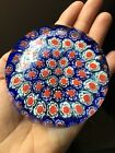 millefiori glass paperweight Vintage 3 White Blue Red Flowers Murano Italy