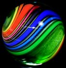 EDDIE SEESE HANDMADE GLASS MARBLE 1569EXOTIC DICHROIC RAINBOW DT EMERALD GREEN