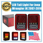 Pair Auto LED Tail Lights Lamps With Brake for Jeep Wrangler JK 07 16 07 15 USA