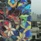 Frosted Static Cling Floral Stained Glass Window Film Sticker Privacy Room Decal