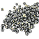 50 Black Glass Beads with a Splash of Gold 6mm Necklace Beads BD179
