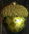 Retired Mackenzie Childs Green Glass Acorn Courtly Check Ornament Excellent