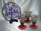 MACKENZIE CHILDS Colorful Hand Blown Ruffled Art Glass Fluted Goblets 3