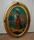 Antique Reverse Painted Oval Glass Statue of Liberty RARE Patriotic Unique Frame