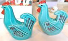 Vintage Salt  Pepper Shakers TURQUOISE Rooster Chicken Art Deco Hand Painted