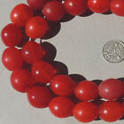 strand old antique czech bohemian red oval goose egg african trade beads 102