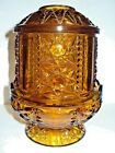 Vintage Amber Indiana Glass Fairy Lamp Candle Holder Footed Stars