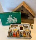 Friedel Krippenfiguren Hand Painted W Wood Barn Nativity Set West Germany OLD