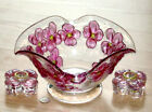 COLONY glass DOGWOOD CRANBERRY candlesticks w CONSOLE BOWL 1948 Mother's Day