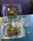 Vintage 3 Hazel Atlas Square Reverse Hand Painted Barn/ Rooster Snack Sets