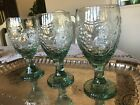 LIBBEY's Orchard Fruit Grapes/Pears Green Glass Goblets SET of 3