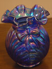 Fenton Iridized Cobalt Blue Bow  Drape Vase Mint Art Glass QVC 1995