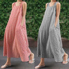 Womens Check Plaid Cotton Linen Baggy Sundress Shirt Long Maxi Dress Plus Size