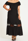 City Chic Women's Size M/18 Mia Off Shoulder Maxi Frill/Lace Edging Black K3