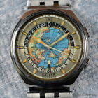EDOX GEOSCOPE AUTOMATIC 1970's 42MM STAINLESS WORLD TIME 24 HOUR COMPRESSOR AUTO