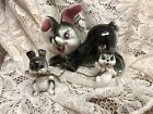 Vintage Ceramic Mother Rabbit With 2 Babys on Chain Figurine Japan