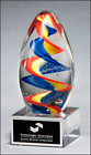 6 COLORFUL EGG SHAPED ART GLASS AWARD WITH CLEAR BASE AND ENGRAVING