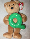 Ty Alphabet Beanie Collection Beanie Babies Tan Bear Holding the Letter Q New