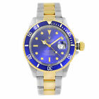 Rolex Submariner Blue on Blue Steel 18K Yellow Gold Automatic Mens Watch 16613