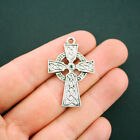 4 Celtic Cross Charms Antique Silver Tone Large Size Incredible Detail SC5623