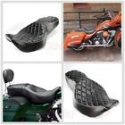 Two up Driver Passenger Diamond Cushion Seat For Harley Touring Road King 97 07