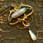Art Nouveau Gold fill art glass  pearl Lavalier Necklace signed GL  Co 18