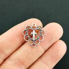 8 Cross Charms Antique Silver Tone Heart Charms SC7807