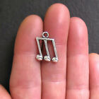 8 Music Note Charms Antique Silver Tone Triple Notes 2 Sided SC533
