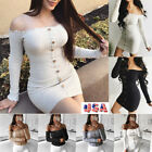 US Women Off Shoulder Stretchy Hip Bodycon Dress Long Sleeve Sexy Crop Tops