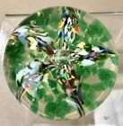 Paperweight Art Glass Small Floral Lily Star Design RD13X
