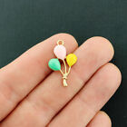 2 Balloons Charms Gold Tone and Enamel Bright and Fun E718