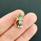 4 Cat Charms Gold Tone Enamel Adorable And Realistic E686