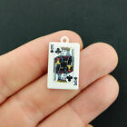 2 Playing Card Charms White Enamel King Of Clubs E722