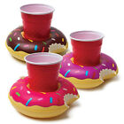 3 Pack Inflatable Frosted Donut Beverage Boat Float Pool Party Drink Holder NEW