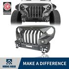 Hooke Road Mad Front Bumper+Grille w 2x 18W LED Spotlight Fit Jeep Wrangler JK