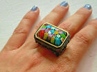 Genuine Murano Millefiori Glass Multicolor Ring By Alan K Size 8