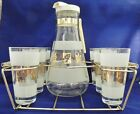 Vintage Mid Century Modern Libbey Gold Leaf Frosted Glasses Pitcher