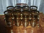 Culver MCM 12oz  Black And 22k Gold Highball Glasses LOT OF 8 with carrier!!