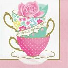 Floral Tea Party Teacup Lunch Napkins 16 Pack Girls Birthday Party Decoration